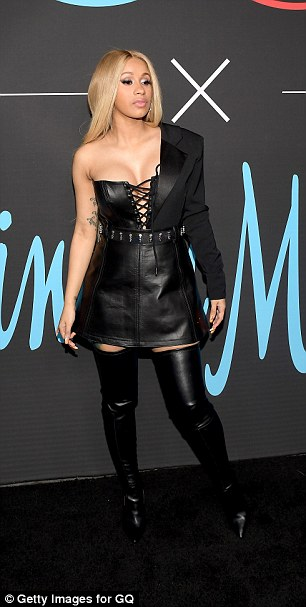 Cardi B Rocks Black Leather Ensemble And Blonde Hair