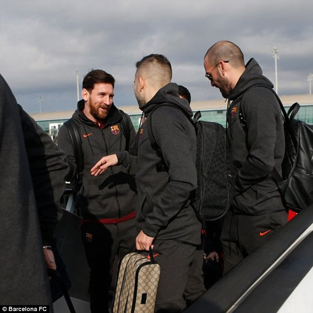 Messi and Barcelona were pictured leaving Spain for London earlier on Monday morning