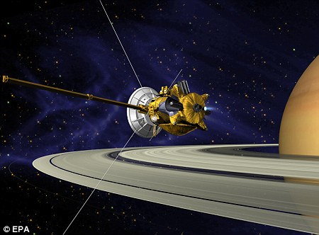 An artist's impression of the Cassini spacecraft studying Saturn