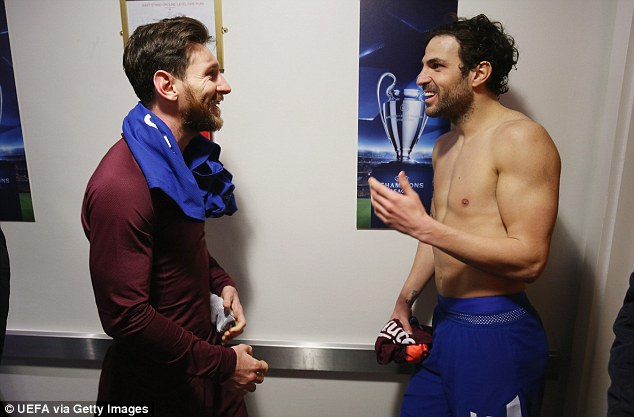 Argentinian forward Messi and Spanish midfielder Fabregas played together at Barcelona