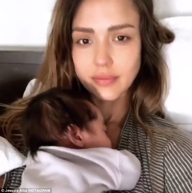 'My favorite time of day!' Jessica Alba goes make-up free as she cuddles baby Hayes in bed