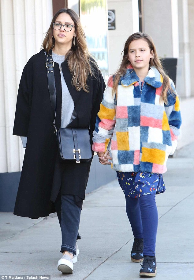 Doting mom: Jessica Alba, 36, worked on bonding time with her eldest, daughter Honor, 9, as they were spotted in Beverly Hills on Saturday