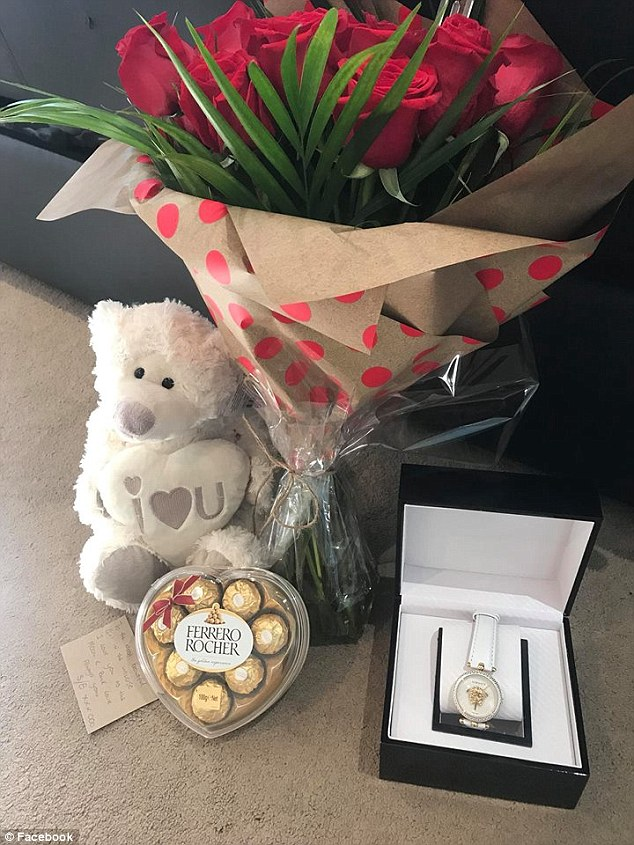 A Versace watch, a packet of high-end chocolates and a bunch of roses - Ms Beytell shared her Valentine's Day gift from Scorsese