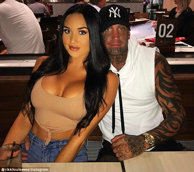Brett 'Kaos' Pechey (right), the ex-president of a Queensland Bandidos chapter, is dating Rikki-Louise Jones (left) the cousin of Geppert's partner Allaina Jones