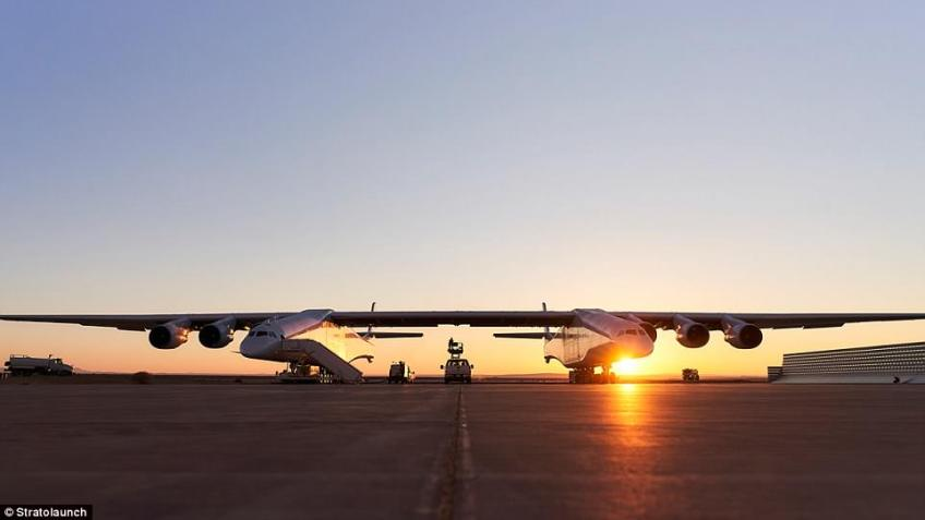 The world's largest plane, Stratolaunch, could be just months away from its first flight. The aircraft has a wingspan longer than a football field and comes equipped with two cockpits, 28 wheels and six engines normally used to power 747 jumbo jets