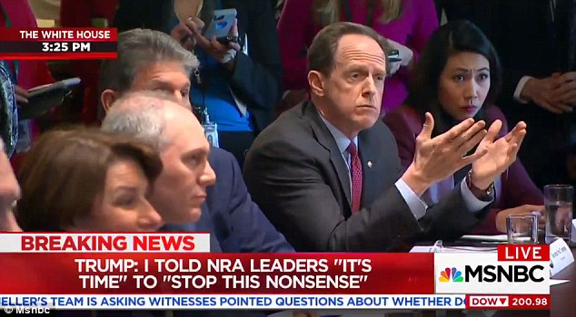 'You know why? Because you're afraid of the NRA!' the president told Sen. Pat Toomey, the Republican author of the bipartisan bill, with a laugh