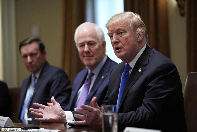 President Donald Trump (seen right with Senator John Cornyn, the Republican from Texas) said he will be giving 'very serious thought' to signing legislation that lifts the minimum age for purchasing firearms like the AR-15 to 21
