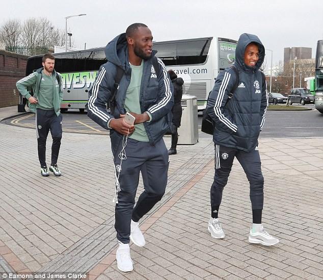 Romelu Lukaku and Ashley Young were in good spirits as they headed to London
