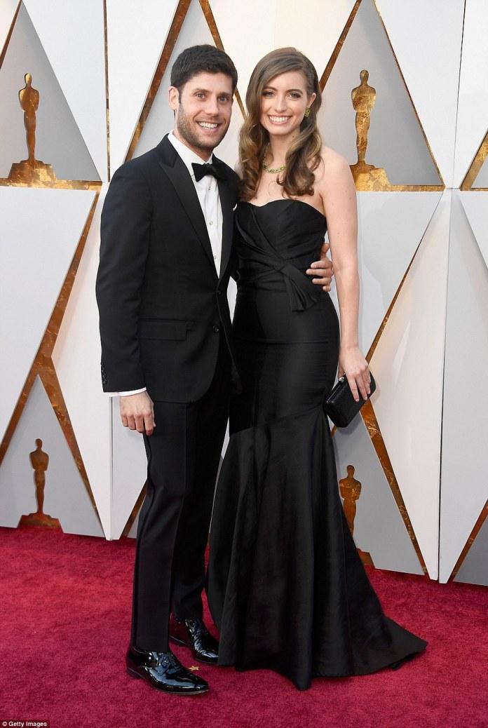 Grinning ear to ear:Scott Neustadter and Lauren Levy Neustadter coordinated in all black