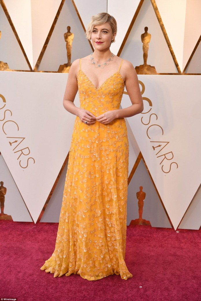 What a lovely choice: Greta Gerwig looked good in a hand-embroidered beaded dress by Rodarte