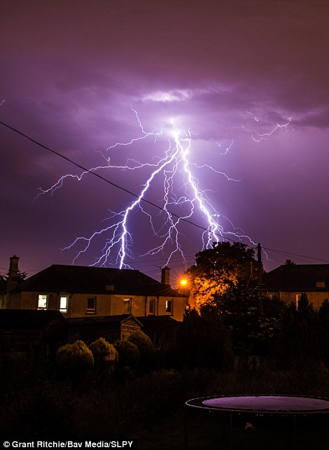 Grant Ritchie's contribution shows shows summer lightning over Stenhouse, Edinburgh