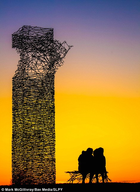 Mark McGillivray's entry shows Rawyards Park, Airdrie, North Lanarkshire. There, a couple sit beside Rob Mulholland's Skytower sculpture, silhouetted by wonderful sunset colours. The scupture is constructed from hundreds of welded wire rods and was designed in conjunction with local primary schools