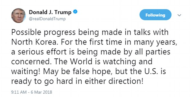 Then he said that talks were 'possible' -- but they could also be a 'false hope' -- and the 'U.S. is ready to go hard in either direction'