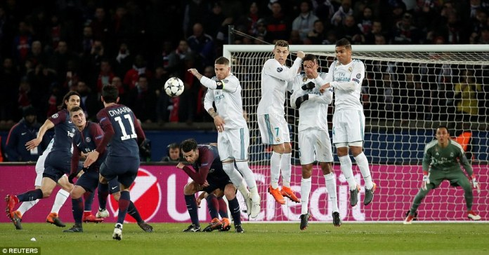 Angel Di Maria fires a left-foot free-kick at Keylor Navas' goal but neither side could find a way through during the first half