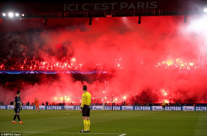 The home crowd turned the Paris sky red early in the second half but they were unable to inspire their team to victory