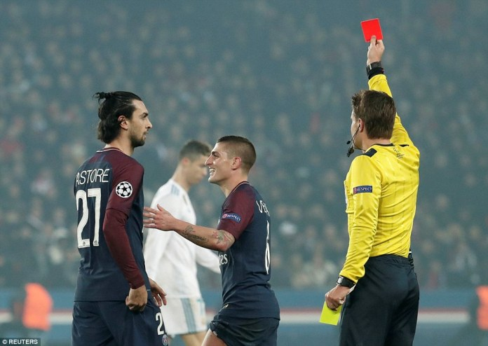 PSG's chances were dealt another blow when central midfielder Marco Verratti was shown a second yellow card for dissent
