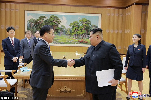 The North Korean dictator shakes hands with South Korea's national security director Chung Eui-yong as his sister looks on