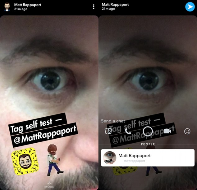 Pictured is what the new tagging feature looks like on Snapchat. Users can swipe up on the 'more' option at the bottom of the screen to view information about the tagged account