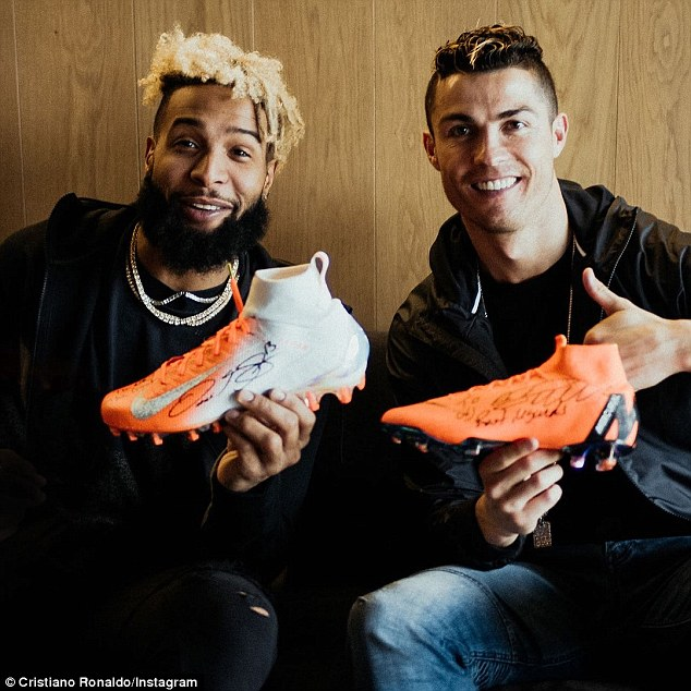 Cristiano Ronaldo (right) rubbed shoulders with Odell Beckham Jr on Friday