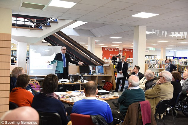 Butcher talks to those who attended the first Sporting Memories event at Lowestoft library