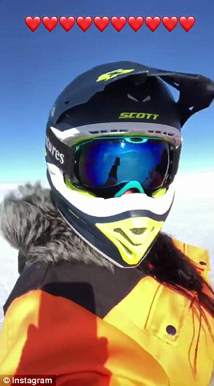 Rodriguez snaps a selfie on her Ski-Doo