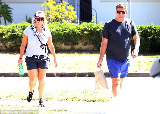 Who's that guy? Samantha Armytage is accompanied by a male friend as she takes her dog Banjo for a walk