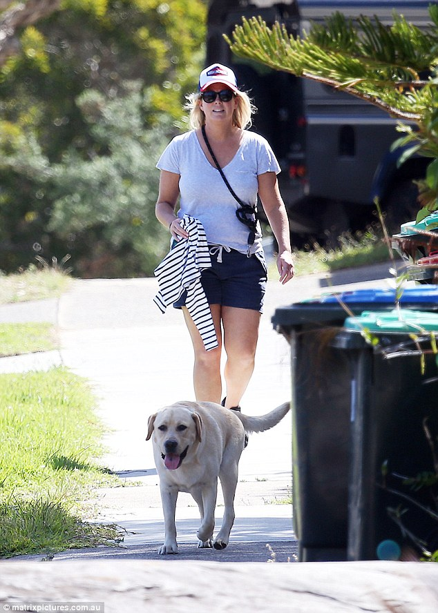 Stretching her legs! Samantha was spotted taking her adorable dog Banjo for some exercise