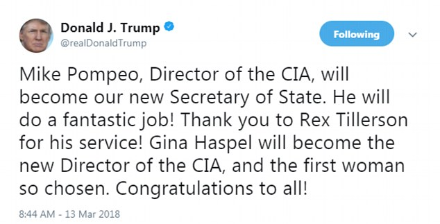 Replacement: Mike Pompeo, who had been CIA director, will now lead the  State Department and Gina Haspel, a career CIA officer who was its deputy  director ...