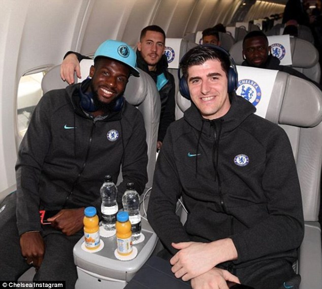 Tiemoue Bakayoko (left) and Thibaut Courtois prepare to jet off to Barcelona on Tuesday