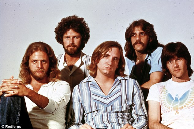 From left Eagles band members Don Felder, Don Henley, Joe Walsh, Glenn Frey and Randy Meisner