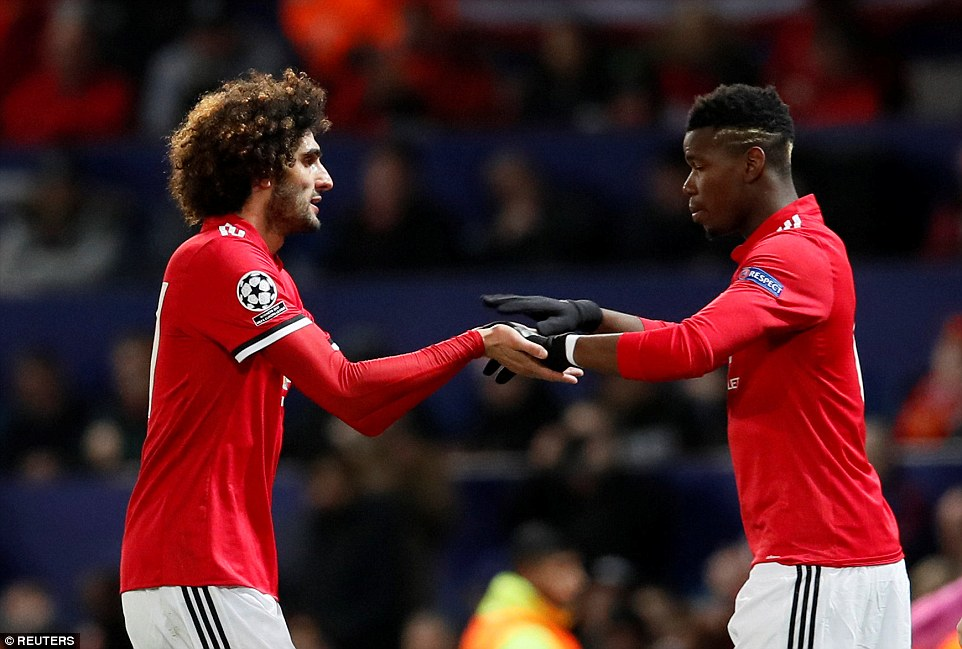 Fellaini was taken off in the 60th minute of Tuesday night's game in favour of £89million French midfielder Paul Pogba