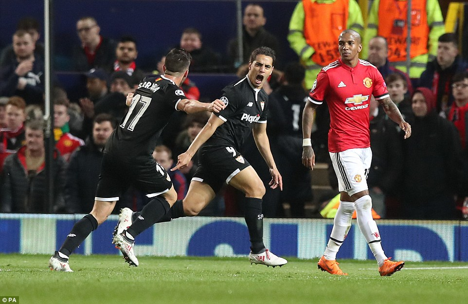 Ben Yedder dashes off to celebrate putting the Spanish side into the lead during the Champions League last-16