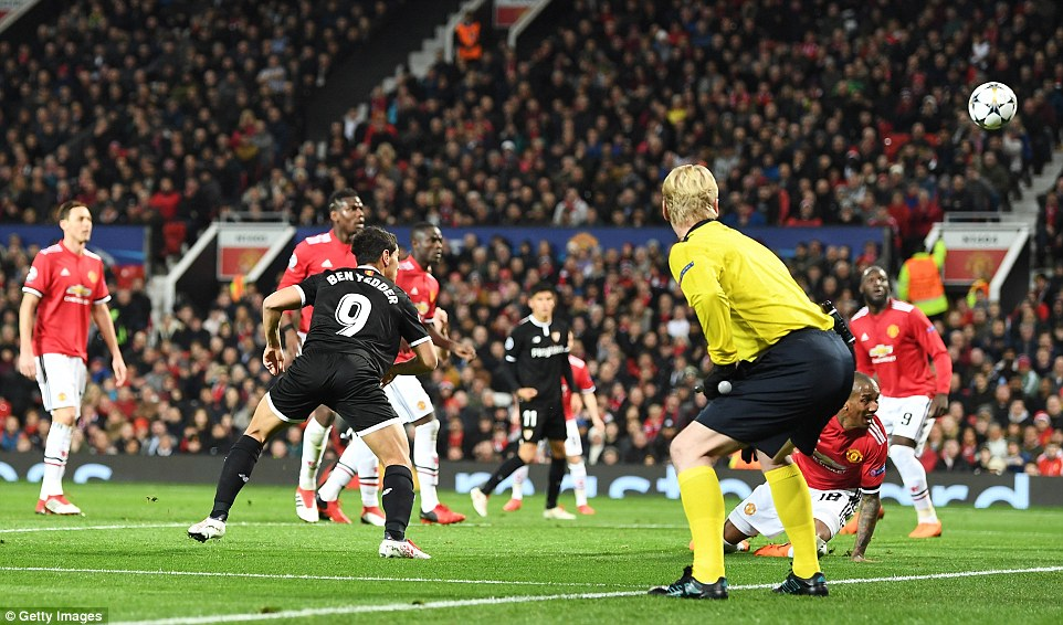 Ben Yedder nods the ball towards the United net as his side take a two goal lead during Tuesday night's game at Old Trafford