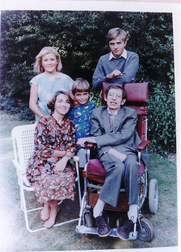 Hawking is pictured with his  children Robert, Lucy & Tim and his first wife Jane