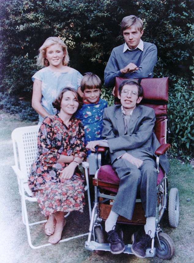 Professor Stephen Hawking and his first wife Jane are pictured with children Robert, Lucy and Tim