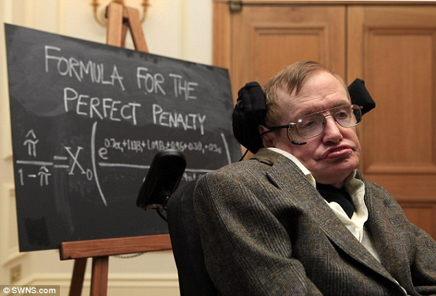 Professor Hawking was even asked to use his mathematical genius to help England win the World Cup and perfect their penalties