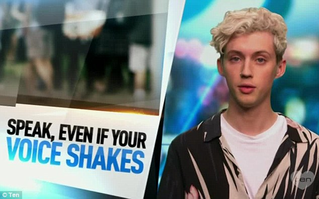 'Speak, even if your voice shakes': 'That fear of finding out too late or not at all, and of not knowing what to do once you do is incredibly difficult, he added, after thanking the celebrities who lent their name to the project (Troye Sivan pictured)