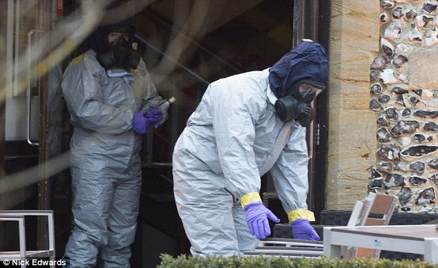 Investigators at The Mill pub in Salisbury yesterday after the incident nearby on March 4