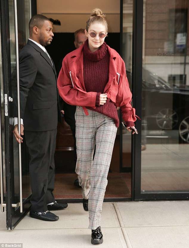 Moving on: Gigi Hadid was spotted leaving her apartment in New York City on Thursday just two days after announcing her split with Zayn Malik on social media