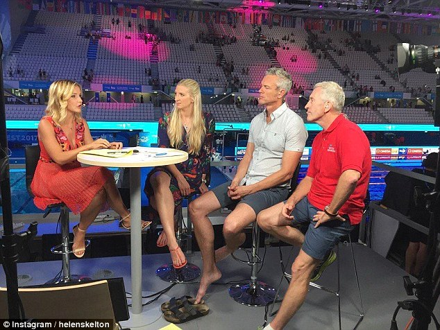 Helen Skelton, pictured here presenting the BBC's swimming coverage in July last year, claimsshe was groped on live TV in 2015 by a man she was interviewing while pregnant