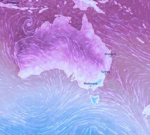 Um mapa do tempo que mostra um estouro de ar frio (azul) correndo para cima do oceano do sul