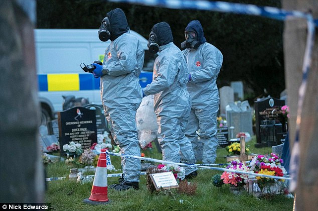 The latest row comes as relations between Moscow and London crashed to a post-Cold War low following the military-grade nerve agent attack on Sergei Skripal in Salisbury that left him and his daugther Yulia in critical condition. Investigators are pictured at Salisbury Cemetery