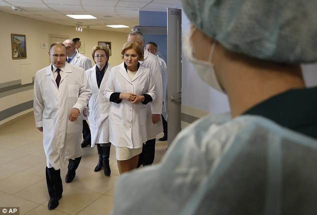 Diplomatic relations between Britain and Russia are at rock bottom after Theresa May blamed the Putin's Kremlin for the attack. Mr Putin is at a hospital in St Petersburg on the campaign trail