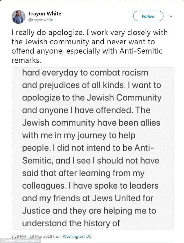 Initially, White expressed surprised that some interpreted his comments as anti-Semitic but later apologized after consulting with a Jewish advocacy group