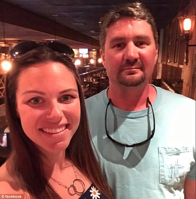 Married father-of-three Brandon Brownfield (pictured, right, with his wife) was the final victim named following the pedestrian bridge collapse in Miami on Thursday