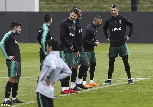 The European champions seemed to be in high spirits at their Lisbon training base