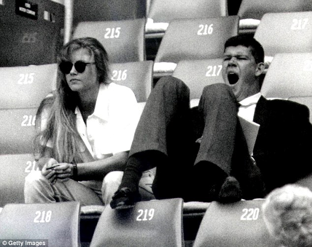 Pictured is James Packer attending a Davis Cup tennis match in Sydney with a friend in 1987