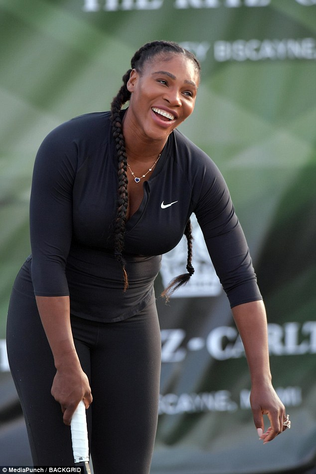 Serena Williams flashes hint of cleavage in sporty black jacket  Daily Mail Online
