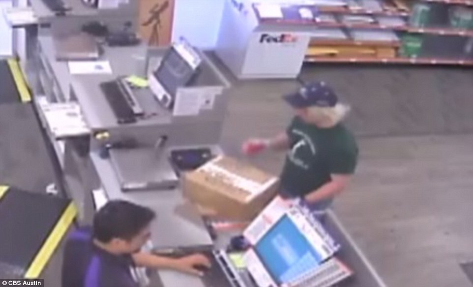 Police zeroed in on the bomber after CCTV taken at a FedEx office in south Austin emerged showing him dropping off two packages around 7.30pm on Sunday. He appeared to be in disguise and was wearing latex-style gloves to handle the parcels
