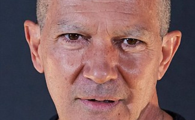 Antonio Banderas Displays Clean Shaved Head And Eyebrows
